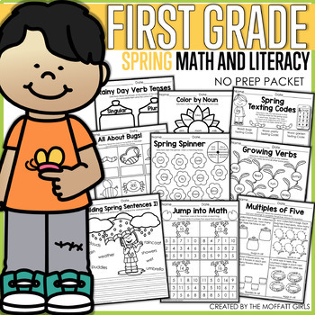 Spring Math and Literacy Packet NO PREP (1st Grade) Distance Learning
