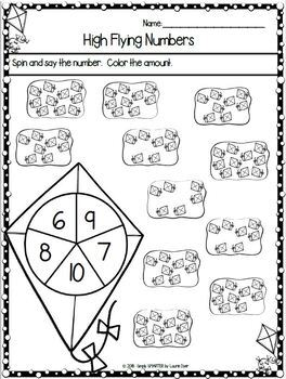 Spring Themed Kindergarten Math and Literacy Worksheets and Activities