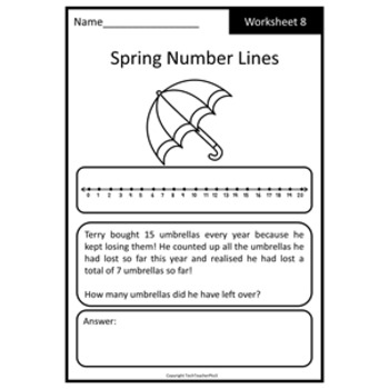 Spring Math Problem Solving Number Line Strategy 10 Worksheets