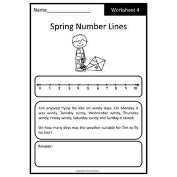 Spring Math Problem Solving Number Line Strategy 10 Worksheets