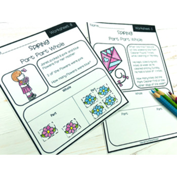 Spring Math Problem Solving Part Part Whole Strategy 10 Worksheets