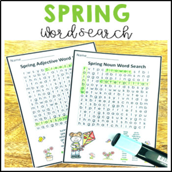 Spring Word Search Nouns, Verbs & Adjectives $1 DEAL