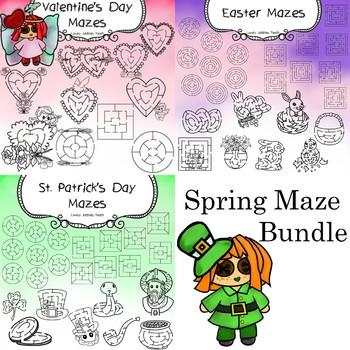 Spring Maze Clip Art Bundle