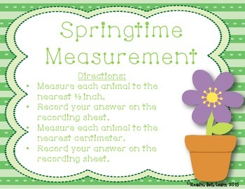 Spring Measurement Activity - Measuring to the Nearest 1/2 inch and Centimeter
