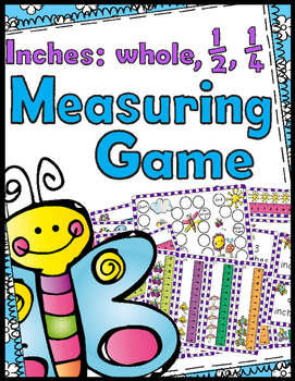 Measuring Game - Inches, 1/2 Inches, & 1/4 Inches - 32 Task Cards!