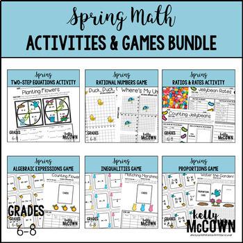 Spring Middle School Math Activities & Games BUNDLE