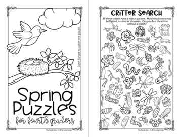 Spring Mini Puzzle Book for Fourth Graders