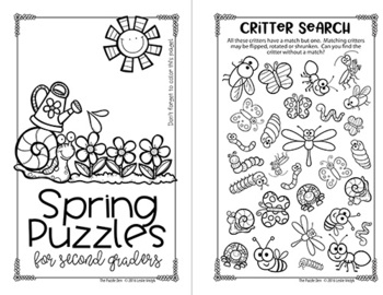 Spring Mini Puzzle Book for Second Graders