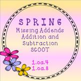 Spring Missing Addend SCOOT Task Cards- Addition and Subtr