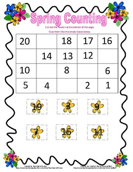 Spring Missing Numbers Backwards from 20 (Easy)