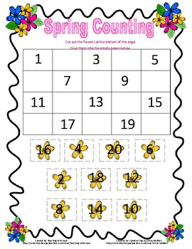 Spring Missing Numbers to 20 - Difficult