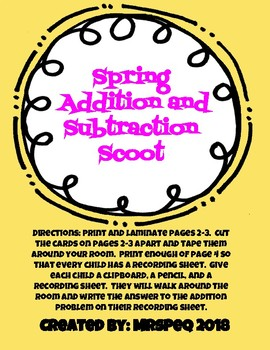 Spring Mixed Addition and Subtraction Scoot Task Cards