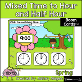 Spring Mixed Time to the Hour/Half Hour Boom Cards - Digit