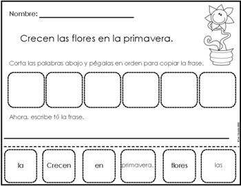 Spring Mixed Up Sentences (Spanish) cut and paste