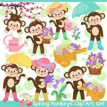Spring Monkeys Clipart Set