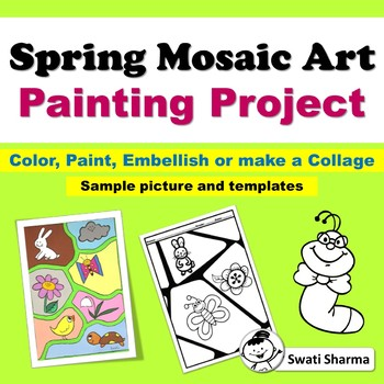 Spring Elementary Art Worksheets, Mosaic Art Project, No Prep Art Sub Plans