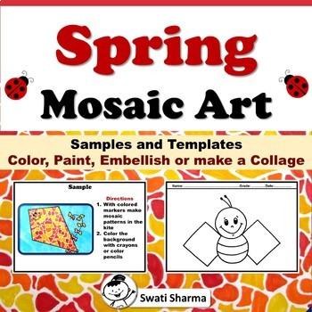 Spring Art Sub Plans, Garden Mosaic Art Project, No Prep Art Worksheets