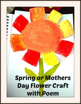 Spring Mothers Day Art Lesson Flowers Pre-K to 3rd Grade ELA Lesson Poem