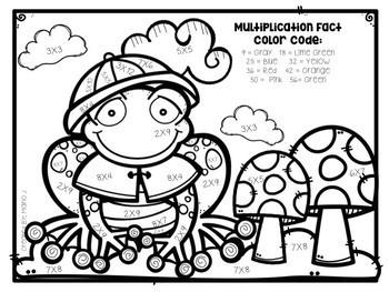 Spring Multiplication Color-By-Number BUNDLE