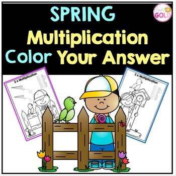 Spring Multiplication Color Your Answer for x2-12 Times Tables