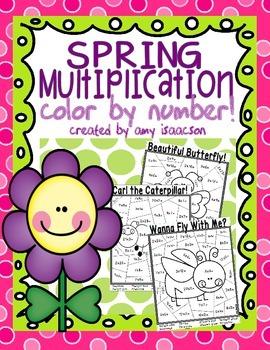 Spring Multiplication Color by Number