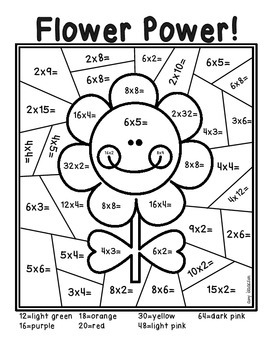 Spring Multiplication Color by Number by Amy Isaacson | TpT