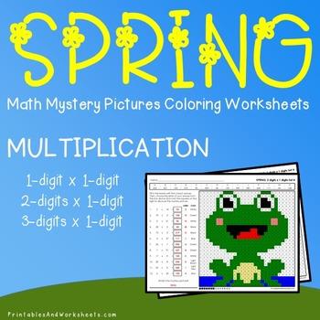 Spring Math Multiplication, Spring Multiplication Color by Number Worksheets