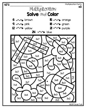 Spring Multiplication Coloring Worksheets Math Solve and Color