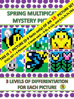 Spring Multiplication Mystery Pictures - Bee (0-9s) only