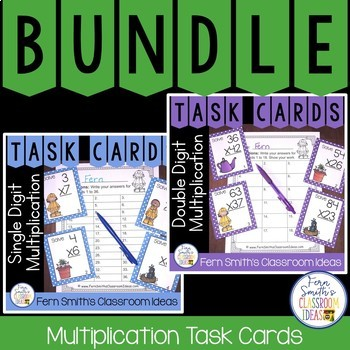 Spring Multiplication Math Task Cards Bundle