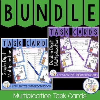 Spring Single Digit and Double Digit Multiplication Math Task Cards Bundle
