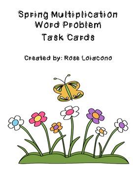 Spring Multiplication Word Problem Task Cards