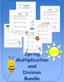 Spring Multiplication and Division Riddle Worksheet Bundle NO PREP