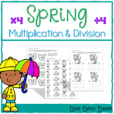 Spring Multiplication and Division Practice - 4s Facts