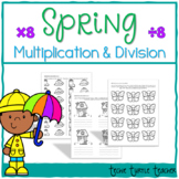 Spring Multiplication and Division Practice - 8s Facts