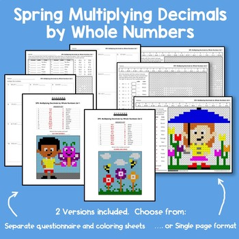 Multiplying Decimals By Whole Numbers Worksheet, Spring Themed Math Worksheets