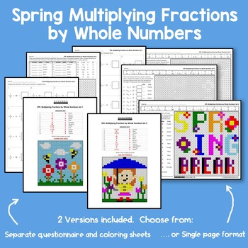 Spring Multiplying Fractions by Whole Numbers