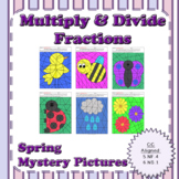 Spring Multiplying and Dividing Fractions Mystery Pictures
