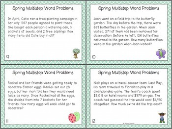 Spring Multistep Word Problem Task Cards (Grade 4)