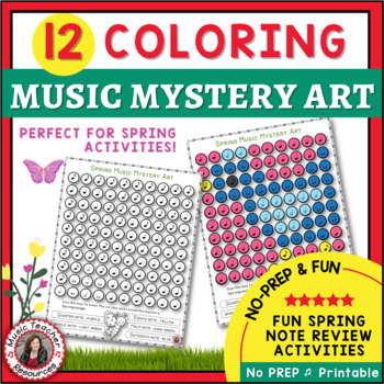 Spring Music Lessons: Music Coloring Sheets: 12 Music Coloring Pages