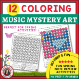 Spring Music: color by Music Sheets: 12 Mystery Art Music Coloring Pages