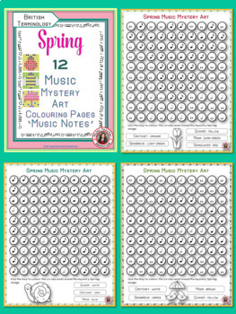 Spring Music Colouring Sheets: 12 Music Colouring Pages: Music Mystery Art