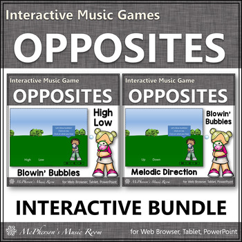 Spring Music Games ~ High Low & Up Down Music Opposites Bundle {Bubbles}