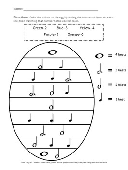 Spring Egg Music Notes: Math Coloring Sheet