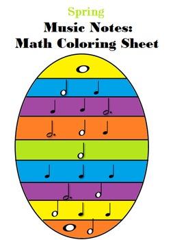 Spring Egg Music Notes: Math Coloring Sheet