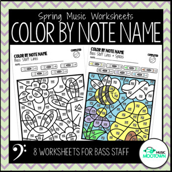 Spring Music Worksheets: Color by Note Name - Bass Staff