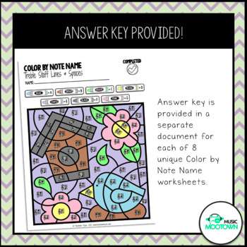 Spring Music Worksheets: Color by Note Name - Treble Staff
