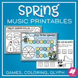 Spring Music Activities: Board Games, Printables, & Color by Note Worksheets