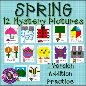 Spring Mystery Picture Addition- Hundreds Chart Addition Practice