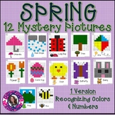 Spring Mystery Pictures- Hundreds Chart Recognizing Colors & Numbers